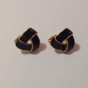 Avon Gold Tone Black Knot Clip On Earrings